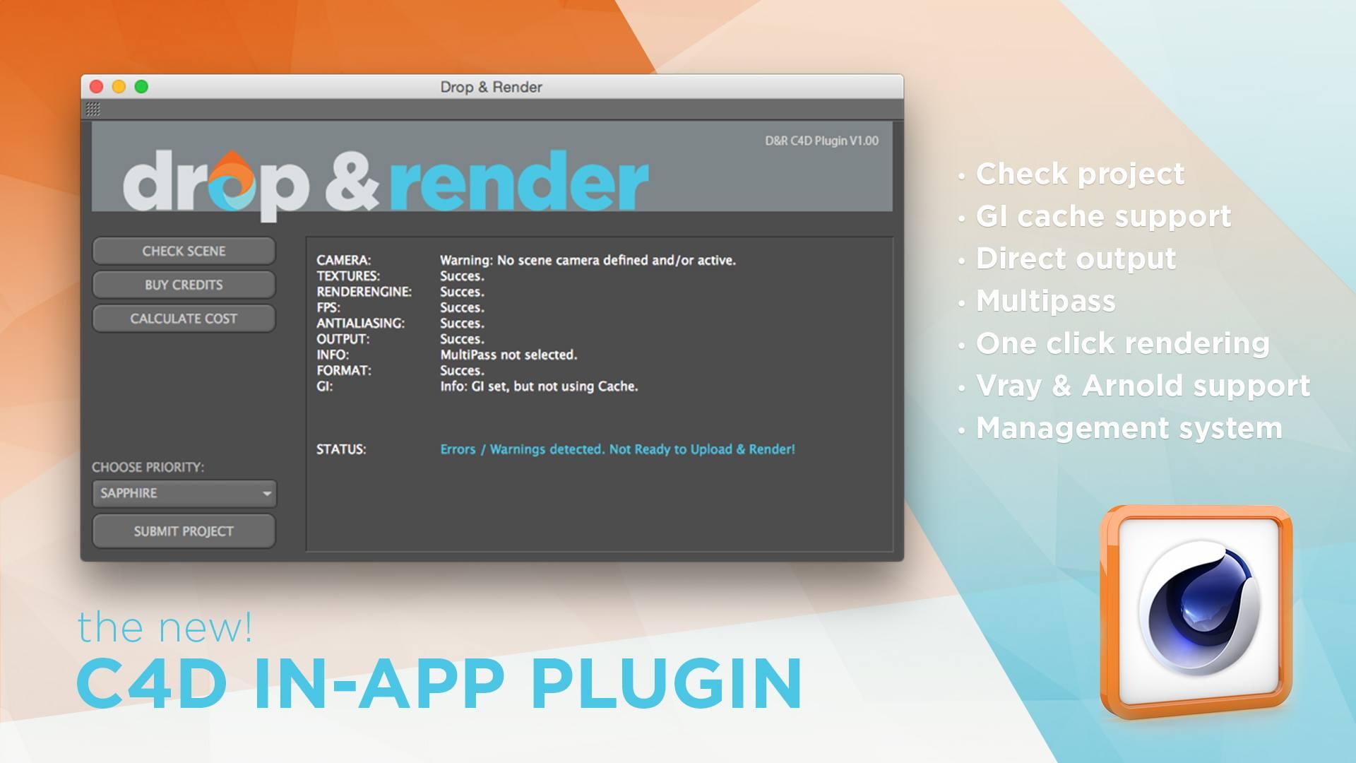 Drop & Render C4D Render Plugin   The Great Summit
